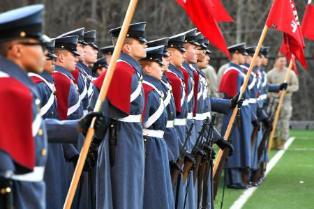 Photograph of cadets in full uniform in formation