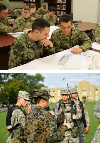 NROTC Cadets in classroom and outdoor training