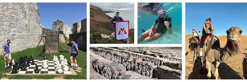Photo collage of cadets from left to right: riding a camel, snorkeling, standing with a VMI flag atop an Irish cliff, and the Terracotta soldiers