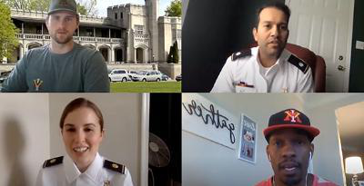 Participants from Career Services Webinars. From top left: LTC Ammad Sheikh, Director of Career Services, Tyler Lighton '15, Reunion Giving Officer at VMI 校友 Agencies, MAJ Sara Blake, Assistant Director of Career Services, Jamaal Walton '07, Associate AD for External Operations at College of Charleston 竞技 Department