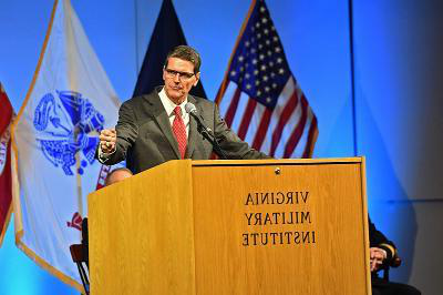 Army General (retired) Joseph Votel speaks in Cameron Hall.