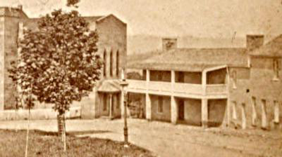 An exterior view of the old VMI hospital in 1890